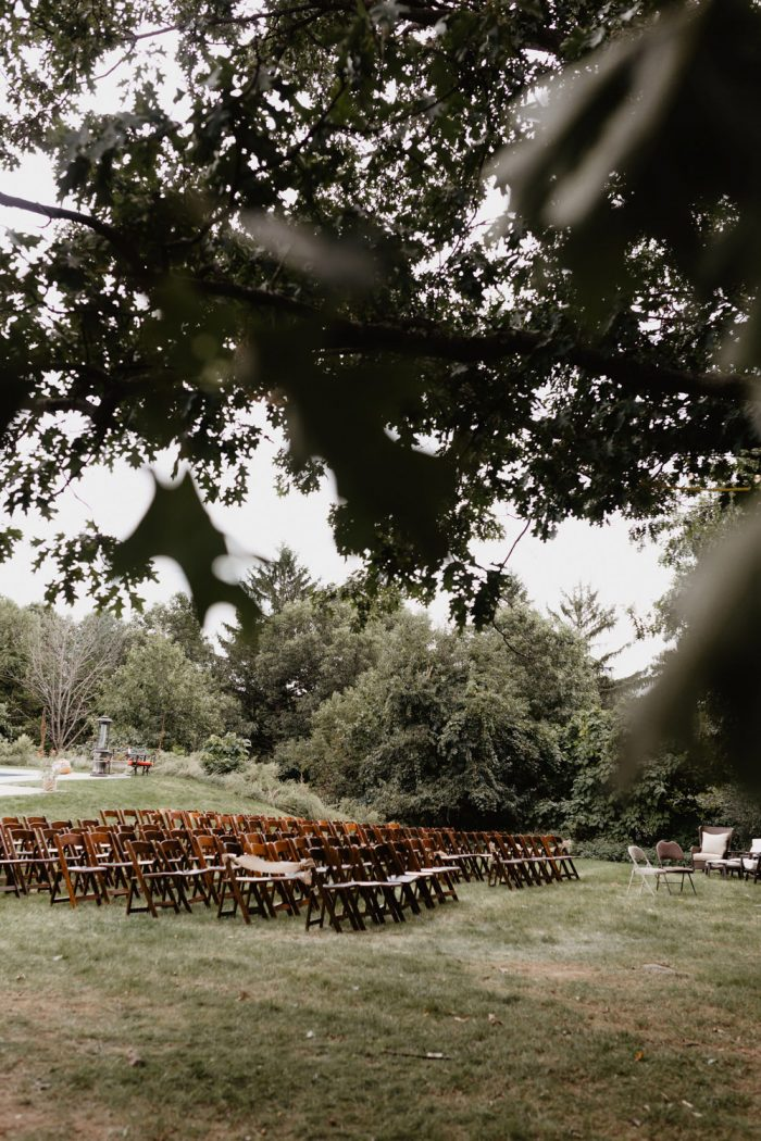 Photo of a backyard Wedding ceremony in Beacon, New York. Photographed by New York wedding photographer, Farrah Julin.