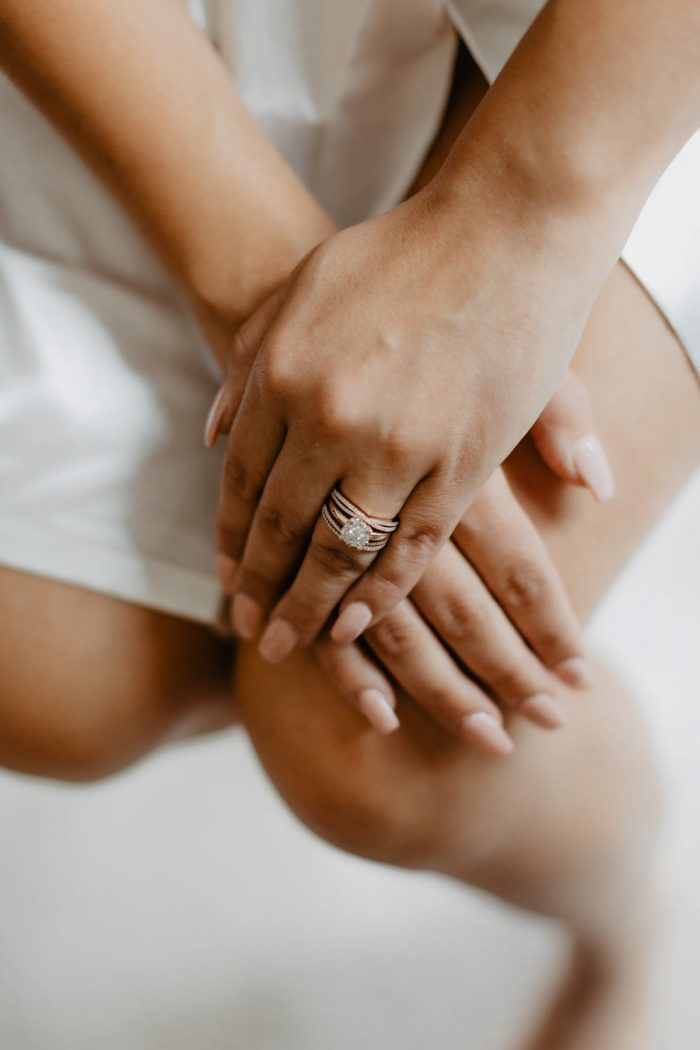 Photo of a bride's ring while getting ready for her backyard Wedding in Beacon, New York. Photographed by New York wedding photographer, Farrah Julin.