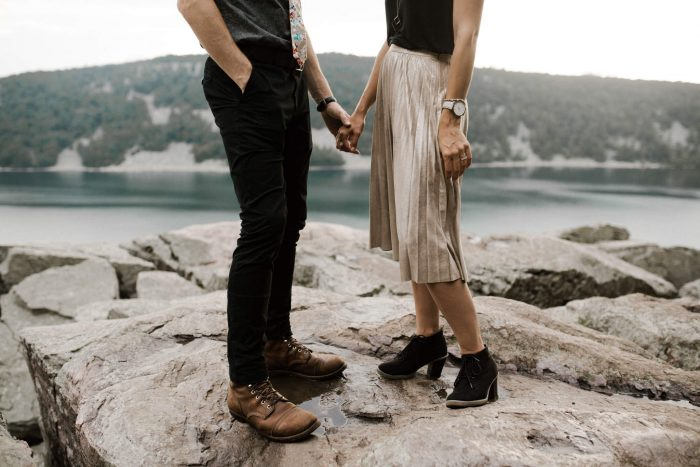 Adventurous engagement photos at Devil's Lake State Park. Photographed by Detroit, Michigan wedding and elopement photographer, Farrah Julin.