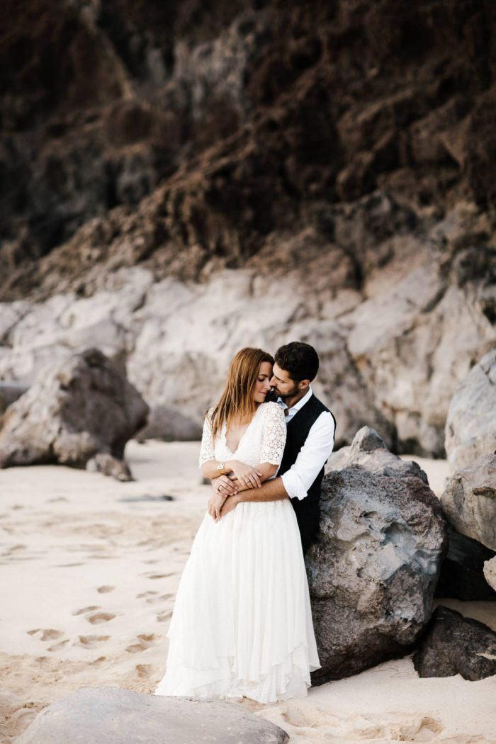 A photo of a bride and groom during their beautiful and adventurous destination elopement. Photographed by destination wedding photographer, Farrah Julin.