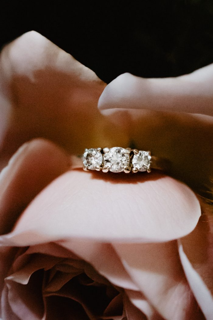 Engagement ring in a rose. Photographed by New York Wedding Photographer Farrah Julin.